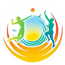 Man And Woman Playing Volleyball On The Beach Sticker
