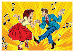 Man And Woman Swing Dancing Sticker