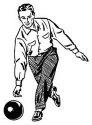 Man Bowling Retro Sticker