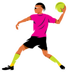 Man Preparing To Throw Dodge Ball Illustration Sticker