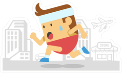 Cartoon Man Running Sticker