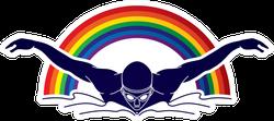 Man Swimming Butterfly Through Rainbow Sticker