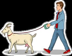 Man Walks With Goat On Leash Pop Art Sticker