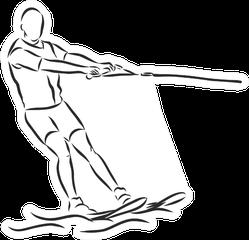 Man Water Skiing Sketch Illustration Sticker