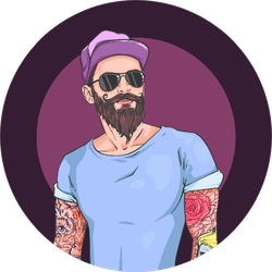 Man With Cap, Beard, And Tattoos Sticker