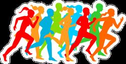Man & Woman Running Silhouettes Sticker