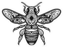 Mandala Bee Illustration Creative Boho Sticker