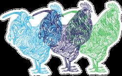 Mandala Chickens Colorful Set Sticker