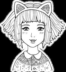 Manga Anime Girl Line Drawing Sticker
