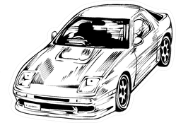 Manga Style JDM Racing Car Sketch Sticker