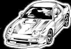 Manga Style JDM Racing Car Sketch Sticker