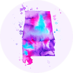 Map Of Alabama. Colorful Abstract Watercolor Sticker