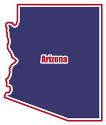 Map Of Arizona State Outline With Lettering Sticker