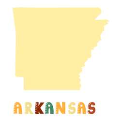 Map Of Arkansas With Cute Lettering Sticker