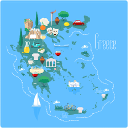 Map Of Greece With Islands Sticker