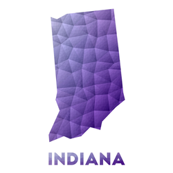 Map Of Indiana Low Poly Illustration Purple Sticker