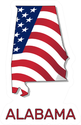 Map Of The State Of Alabama American Flag Lettering Sticker