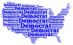"""Map Of The United States Of America With The Word """"democrat"""" Sticker"""
