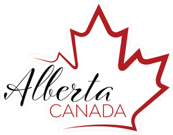 Maple Leaf Outline With Alberta, Canada Sticker