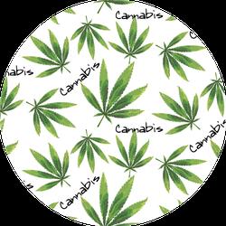 Marijuana Leaf and Cannabis Lettering Pattern Sticker