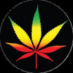 Marijuana Leaf With Rastafarian Colors Sticker