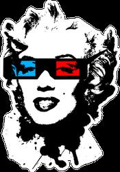 Marilyn Monroe Wearing 3d Movie Glasses Sticker