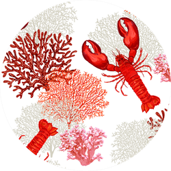Marine Pattern Background  With Lobster And Coral Sticker