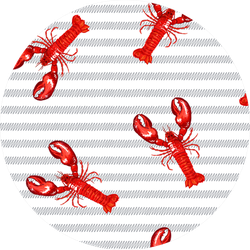 Marine Pattern Lobster On Abstract Stripes Sticker