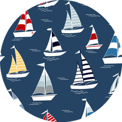 Marine Seamless Pattern With Cartoon Boats Sticker