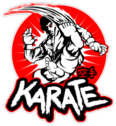 Martial Arts, Karate Powerful Male Fighter Sticker