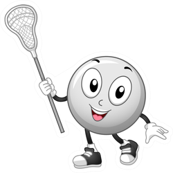 Mascot Illustration Of A Lacrosse Ball Sticker