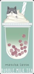 Matcha Latte Bubble Milk Tea Sticker