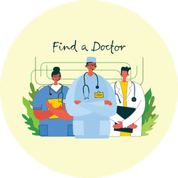 Medical Company Service Concept Find A Doctor Cartoon Sticker