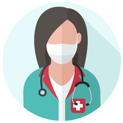 Medical Icon Doctor Woman In Medical Mask Sticker