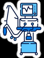 Medical Ventilator Line Color Icon Sticker