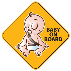 Meditating Baby on Board Sticker