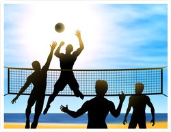 Men Playing Beach Volleyball Sticker