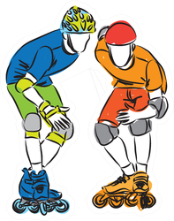 Men Rollerblade Skaters Illustration Sticker