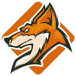 Menacing Fox Head Mascot on Orange Field Sticker