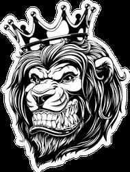 Menacing Lion with Crown Sticker