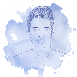 Men's Hairstyle Blue Watercolor Sticker