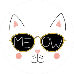 Meow Cat and Sunglasses Circle Sticker