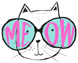 Meow Cat In Huge Glasses Sticker
