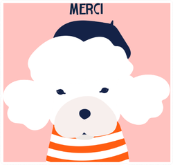Merci French Poodle Dog Sticker