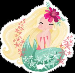 Mermaid and Starfish Sticker