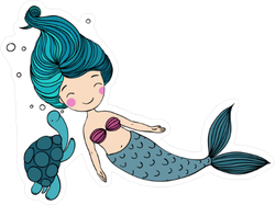 Mermaid and Turtle Sticker