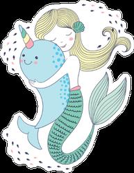 Mermaid Hugging Narwhal Sticker