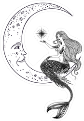 Mermaid on the Moon Sticker