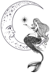 Mermaid on the Moon Sticker