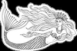 Mermaid Swimming Undersea Sticker